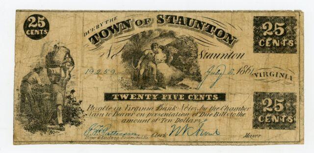 1861 25c The Town of Staunton, VIRGINIA Note - CIVIL WAR Era w/ SLAVES