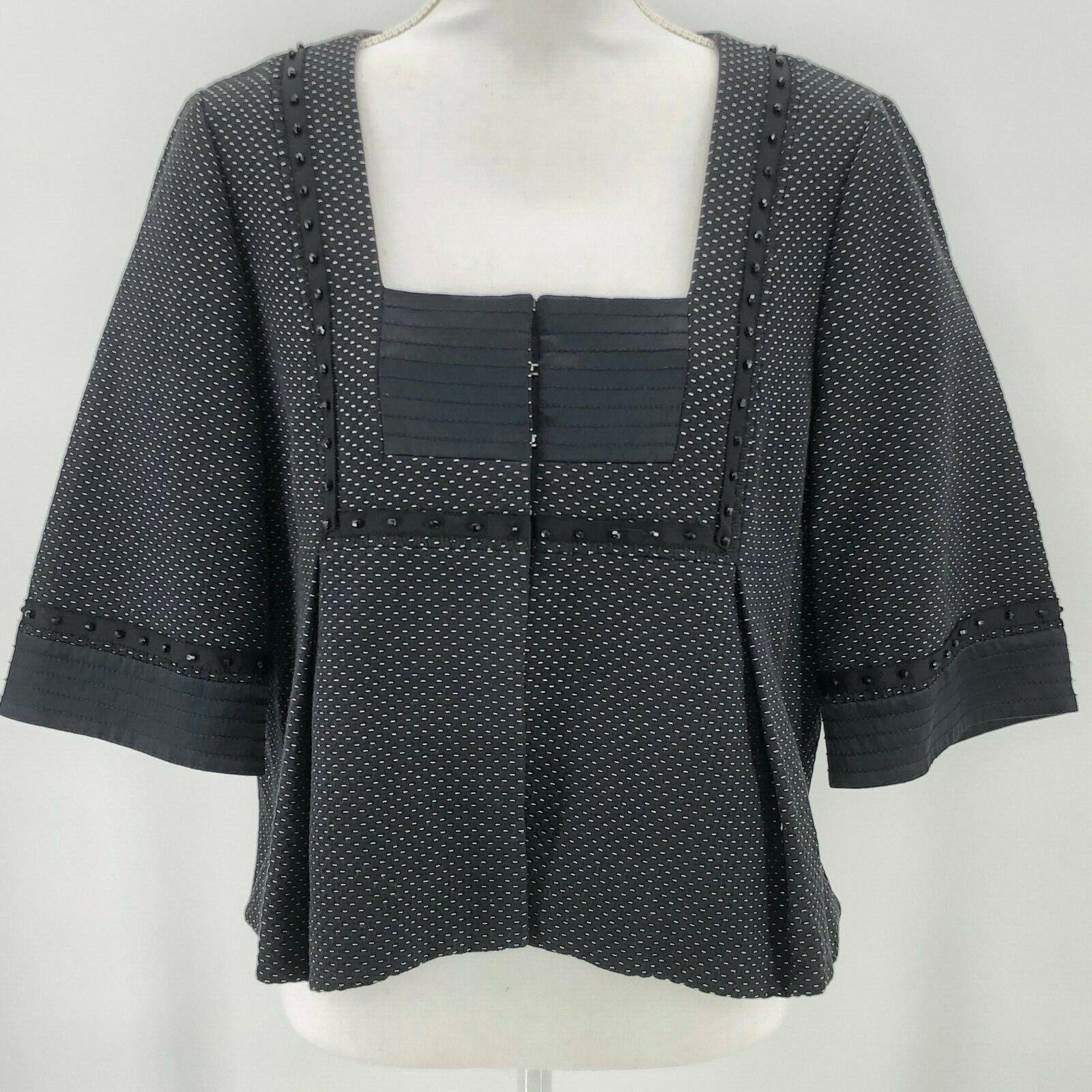 Badgley Mischka Womens Large Boxy Cropped Beaded Jacket Blazer Career Party