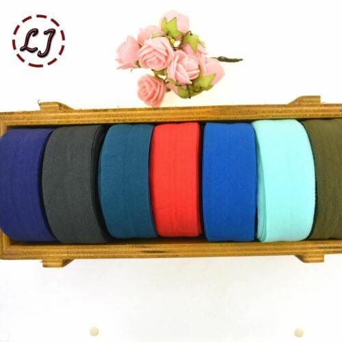 "1/"" 25 mm cheveux Cravate Making Foe Band rabat élastique ruban sangle SOLIDE headw"