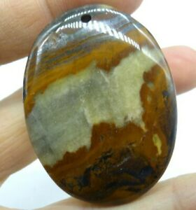 49-38MM-Natural-picture-agate-pendant-Gemstone-Making-jewelry-necklace-C285