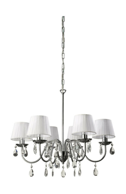 CHANDELIER SILVER 6 LIGHT WITH WHITE SHADES AND GLASS CRYSTALS