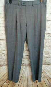 M-amp-S-COLLECTION-Mens-Grey-Black-Performance-Wool-Blend-Smart-Trousers-Size-40-034
