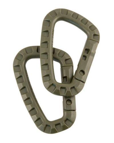 Paire de Tactique utilitaire en plastique ABS vert olive mousquetons-Ressort Crochet