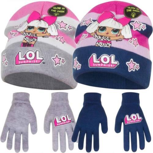 LOL Mütze Handschuhe für Mädchen l.o.l Surprise Leuchteffekt Herbst Winter Set