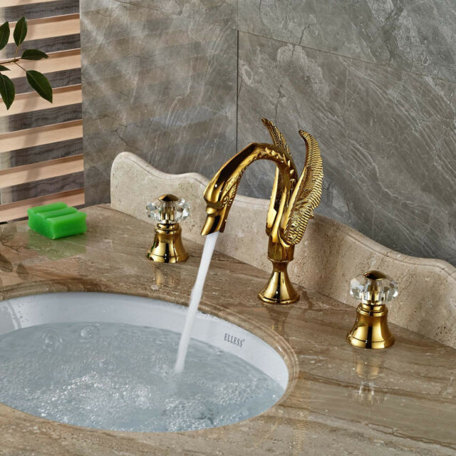 Deck Mounted Golden Brass Bathroom Swan Faucet Crystal Handles Vanity Sink  Mixer