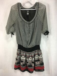 2203d63250b49 Guess Womens Size 3 Small Tunic Dress Black Red White Top Shirt ...
