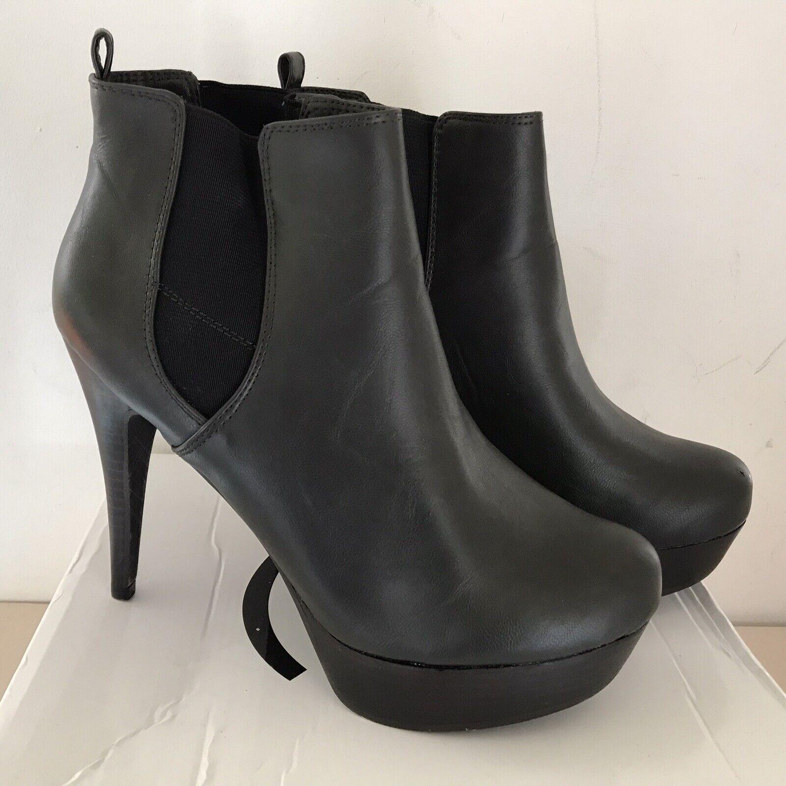 ! nuevo! Gris Oscuro Coco Imitación Cuero De Salón Zapatos de Taco Alto Botas al Tobillo Chelsea Talla 8