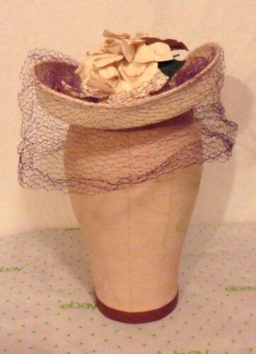 Vict/Edw/30s-40s FINE Straw TILT HAT w/Flowers,Pur