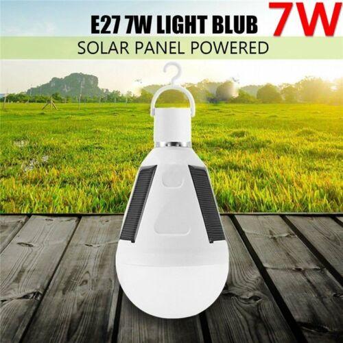 E27 Solar Panel LED Bulb Light Portable Outdoor Garden Camping Tent Lamp 7W//12W