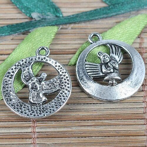 12pcs tibetan silver color round angel design charms EF0226