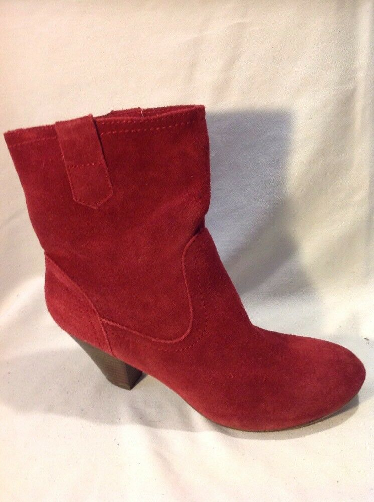 5TH Avenue Red Ankle Suede Boots Size 40