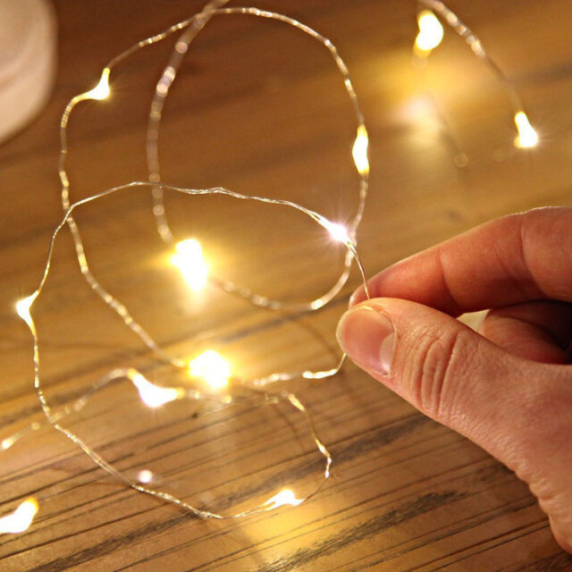 best sneakers ae425 c6ee4 2pcs Mini 1m 10 LED Battery Operated Mini Copper Wire String Fairy Lights  Decor