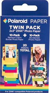 NEW Polaroid 2x3 ZINK Photo Paper 10 Borderless + 10 Color Border Photo Sheets