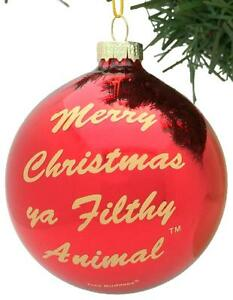 Tree-Buddees-Merry-Christmas-Ya-Filthy-Animal-Glass-Red-Ornament-Home-Alone