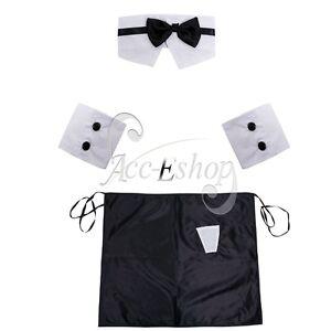 Men-Bow-Tie-Collar-Cuffs-Stripper-Set-Butler-Waiter-Dress-Up-Valentines-Costume