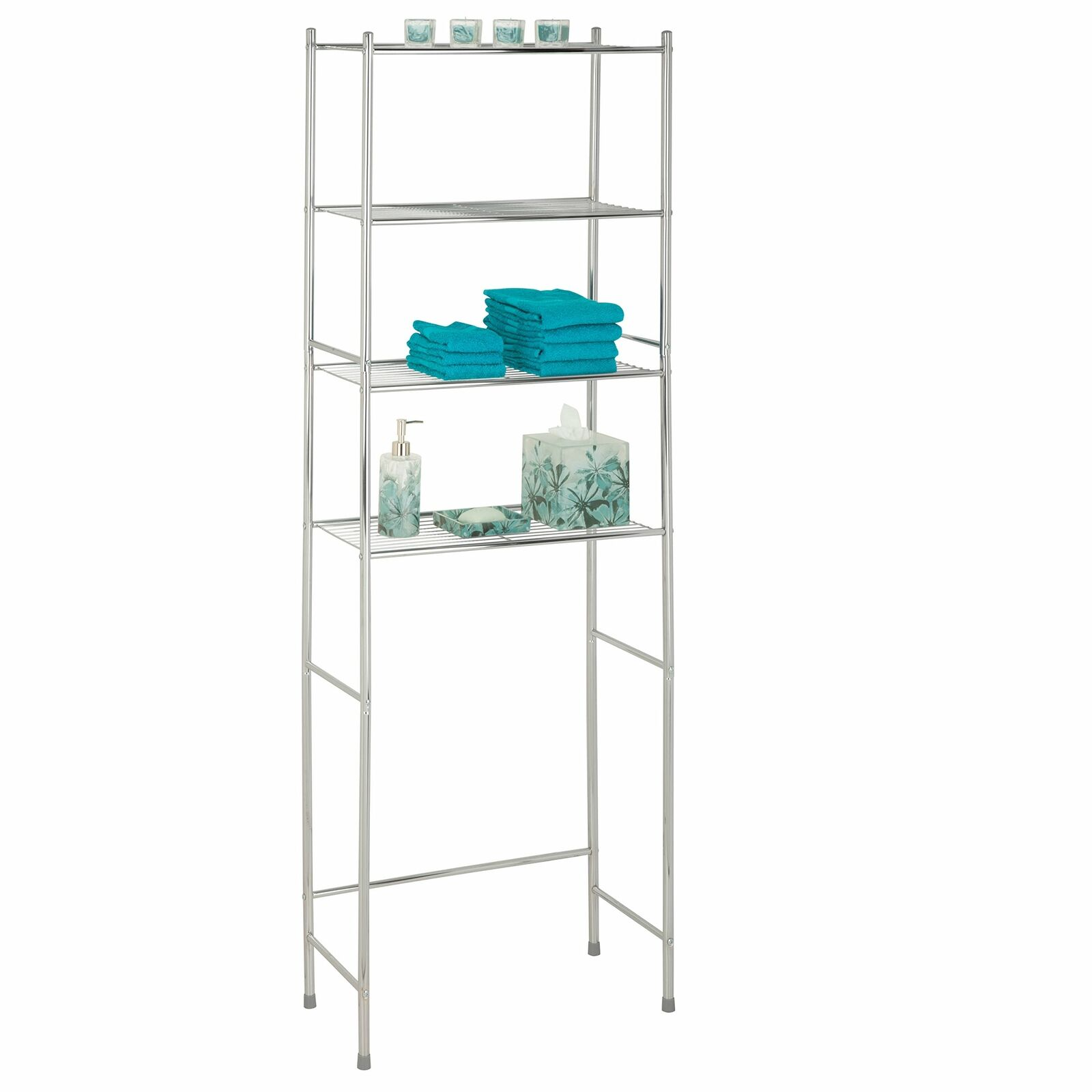 "BTH-03484 6 Tier Metal Tower Bathroom Shelf Chrome 12.6"" L x 11"" W x 59.8"" H"