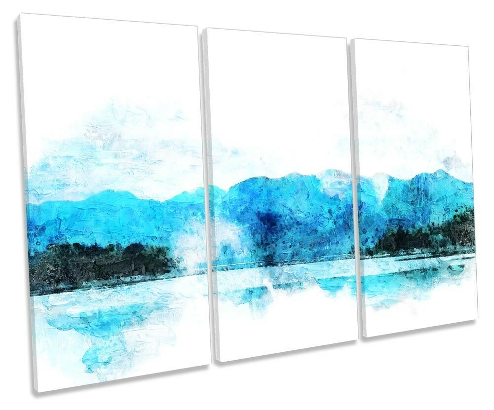 Blau Mountains Landscape Weiß TREBLE CANVAS WALL ARTWORK Print Art