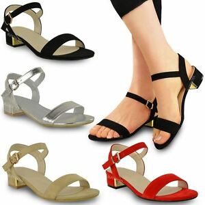 96cdc5b1806e WOMENS LADIES STRAPPY SANDALS FLAT LOW BLOCK HEEL SUMMER OPEN TOE ...