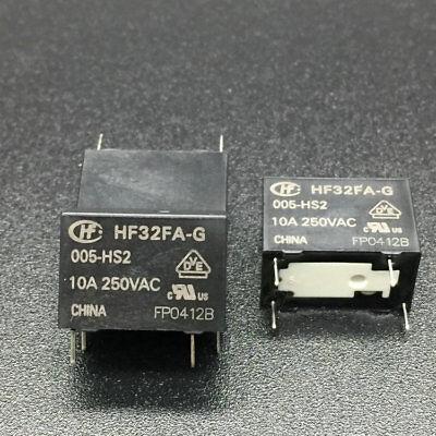 5pc Relay HF32FA-G-005-HS2 5VDC 4 feet 10A250VAC 2 type feet