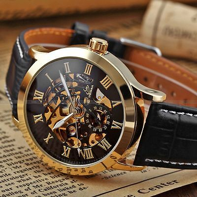 Men Skeleton Automatic Mechanical Luxury Stainless Steel Wrist Watch + Bookmark