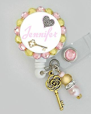 Heart and Key ID REEL BLING BADGE HOLDER with charm Nurse, Teacher, ETC