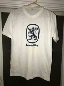 Vtg-80s-Lowenbrau-Beer-Single-Stitch-Crest-Logo-Thin-Graphic-T-Shirt-USA-Made