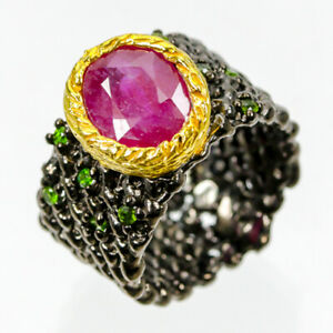 Handmade11x9mm-Natural-Ruby-925-Sterling-Silver-Ring-Size-7-R86585
