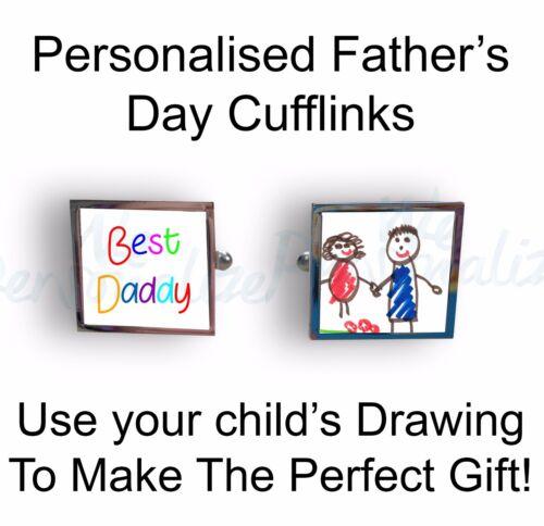 Gemelos Personalizados Con Foto de dibujo de su hijo Texto Padre Día Regalo da