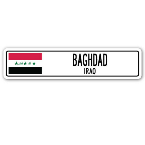 BAGHDAD IRAQ Street Sign Iraqi flag city country road wall gift