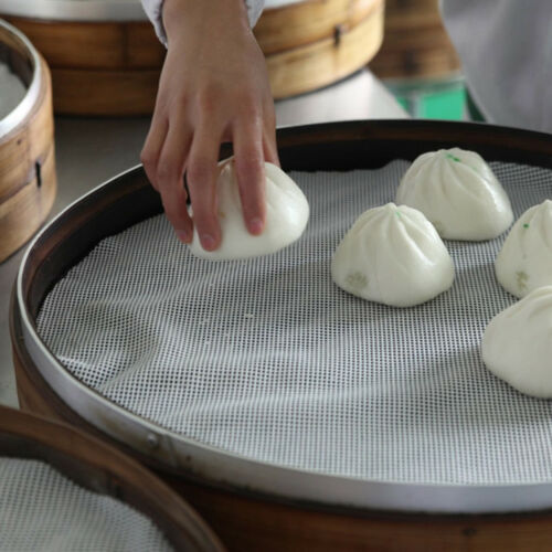 Round Non-Stick Silicone Mesh Cloth Baking Liners Steamer Pad Dumplings Bun XS