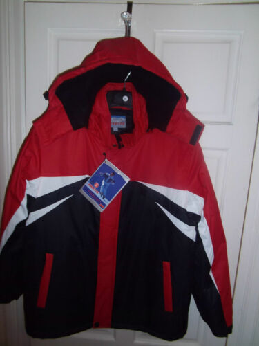 MENS WINTER WATERPROOF SKI STYLE FLEECE /& QUILTED LINED HOODED JACKET red
