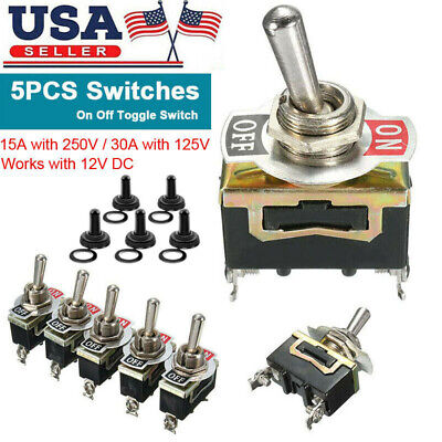 5pcs Waterproof Toggle Switch On Off 2 Pin Heavy Duty 30A 125V SPDT For Vehicle
