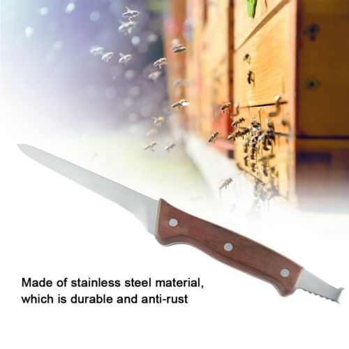 Wooden Handle Bee Hive Honey Hook Scraper Stainless Steel Beekeeping Tools Equip