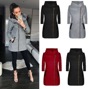 Womens-Thicken-Warm-Winter-Hooded-Coat-Zipper-Parka-Overcoat-Jacket-Outwear