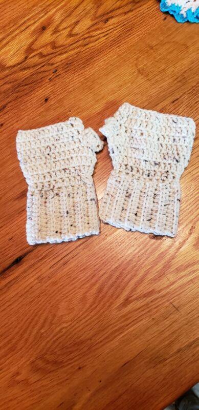 Disciplined Handmade Crochet Fingerless Gloves Cream Tweed To Invigorate Health Effectively