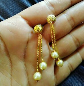 Image Is Loading 22k Gold And Platinum Plated Long Pearl Designer