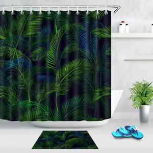 Waterproof Fabric Shower Curtain Dark Green Tropical Palm Leaves Bathroom Hooks Ebay Discover a unique and stylish collection of shower and bathroom curtains at urban outfitters. details about waterproof fabric shower curtain dark green tropical palm leaves bathroom hooks