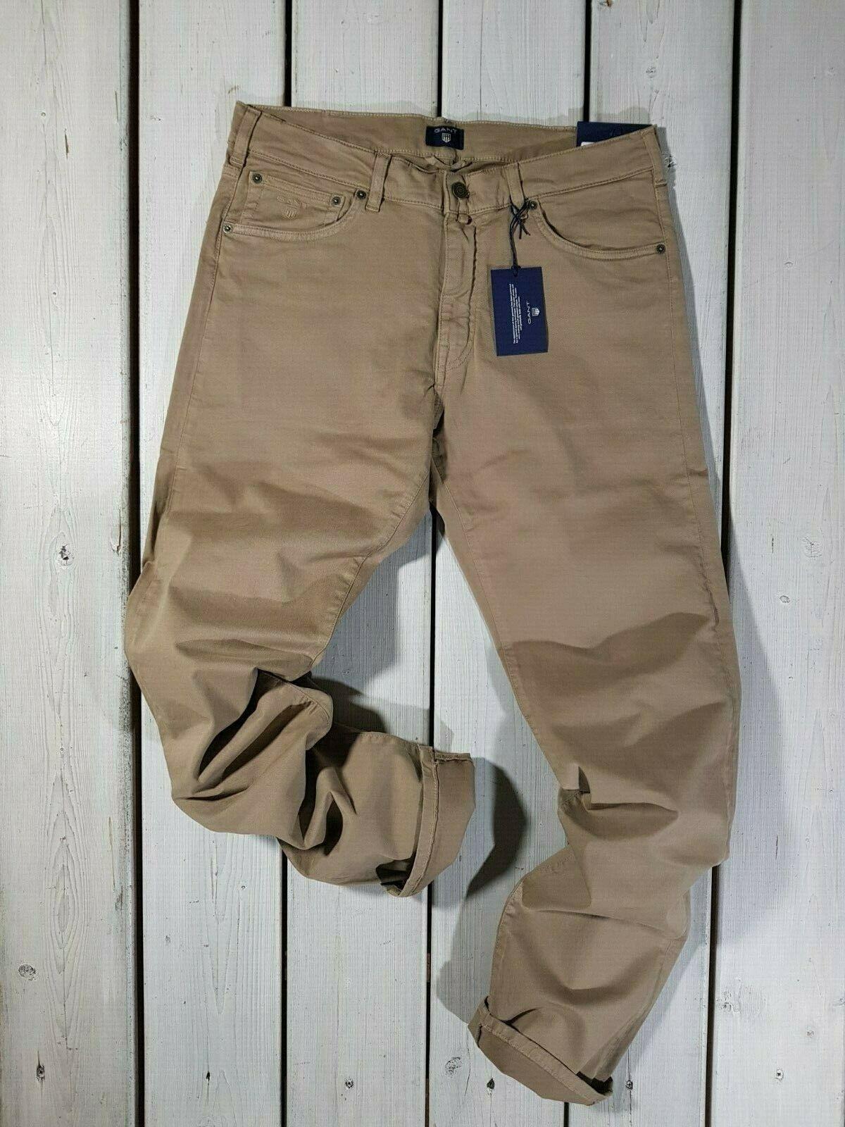 Neu Gant HERREN Jeans W33 L34 Wüste Braun Regelmäßige Gerade Stretch