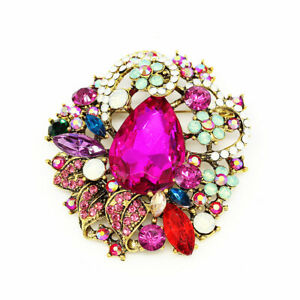 Women-039-s-Colorful-Crystal-Rhinestone-Flower-Charm-Betsey-Johnson-Brooch-Pin-Gift