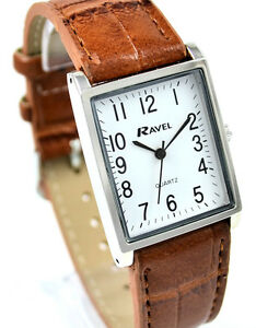 Ravel-Ladies-or-Mens-Classic-Watch-with-Tan-Strap-Clear-White-Rectangular-Dial
