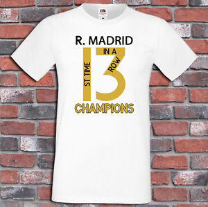 3137d31cc Real Madrid 13 Champions League Winners Shirt 1 st time 3 in a row T ...