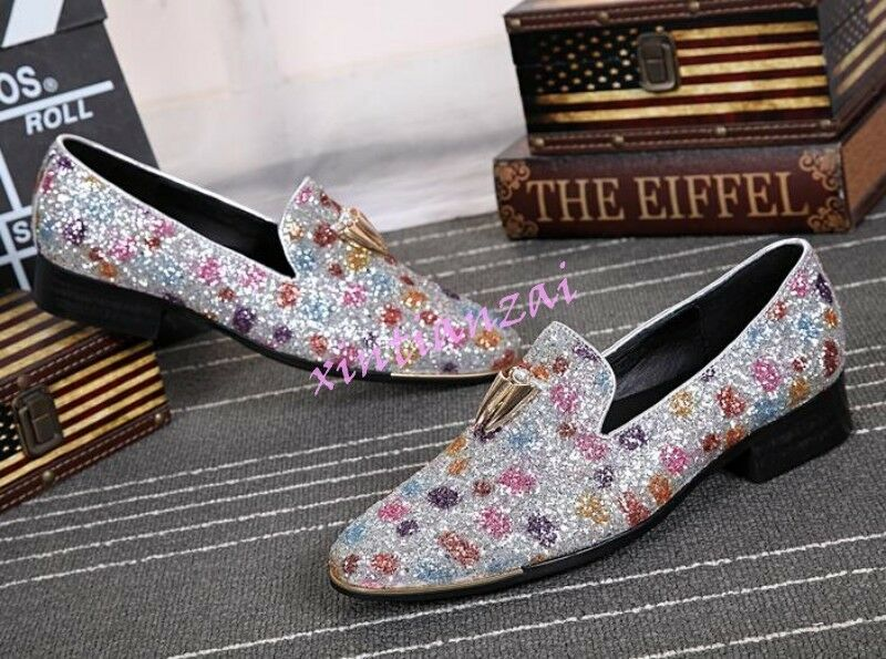 Mens Bling Bling Sequin Floral Slip On Flats Slip On Pumps Dress Clubwear shoes