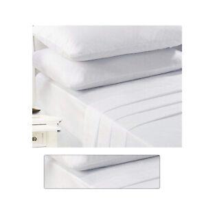 Drap-housse-drap-blanc-4-ft-environ-1-22-m-petit-double-Entretien-Facile-Poly-Coton-Drap-Lit-Draps
