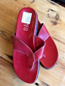 Franco-Sarto-Mule-Sandals-Size-9-1-2-Red-Leather