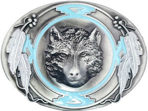 Indian-American-Style-Southwest-Design-Wolf-w-Eagle-Feathers-Belt-Buckle-Western
