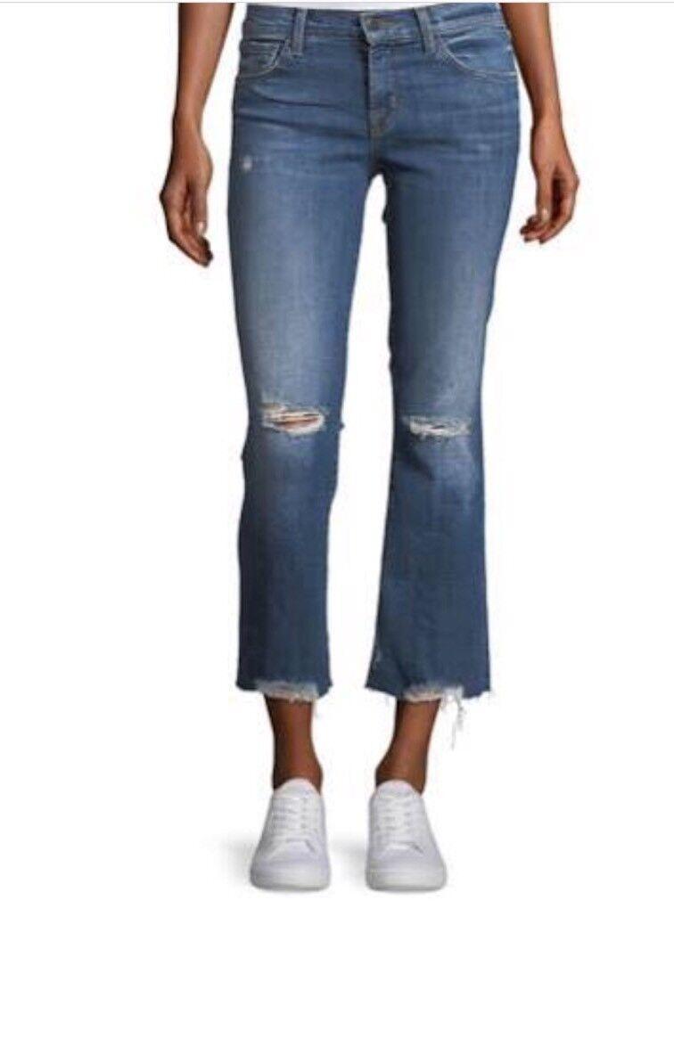Authentic J Brand Selena Mid-Rise Crop Boot Jeans 28 Revoke Destruct  228. NWT