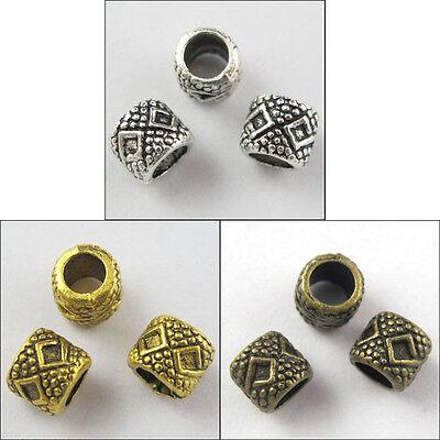 60Pcs Silver Gold Bronze Tone 4mm Hole Tube Spacer Bead Charm Fit Bracelet 6x7mm