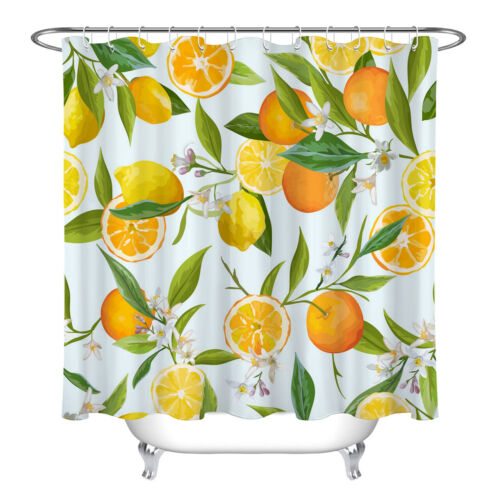 Fruits Orange and Lemon Pattern Shower Curtain Set Bathroom Waterproof Fabric
