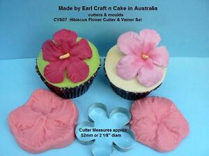 Hibiscus Flower Cutter Veiner Cake Decorating Sugar Flower Gum