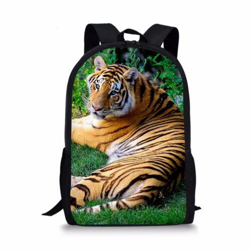 Tiger Turtle Cat School Bags Boys Girls Backpack Lunchbox Women Laptop Rucksack